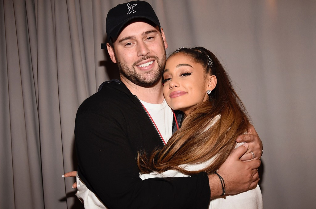 Scooter Braun and Ariana Grande photographed at the One Love Manchester Benefit Concert at Old Trafford on June 4, 2017 in Manchester, England.