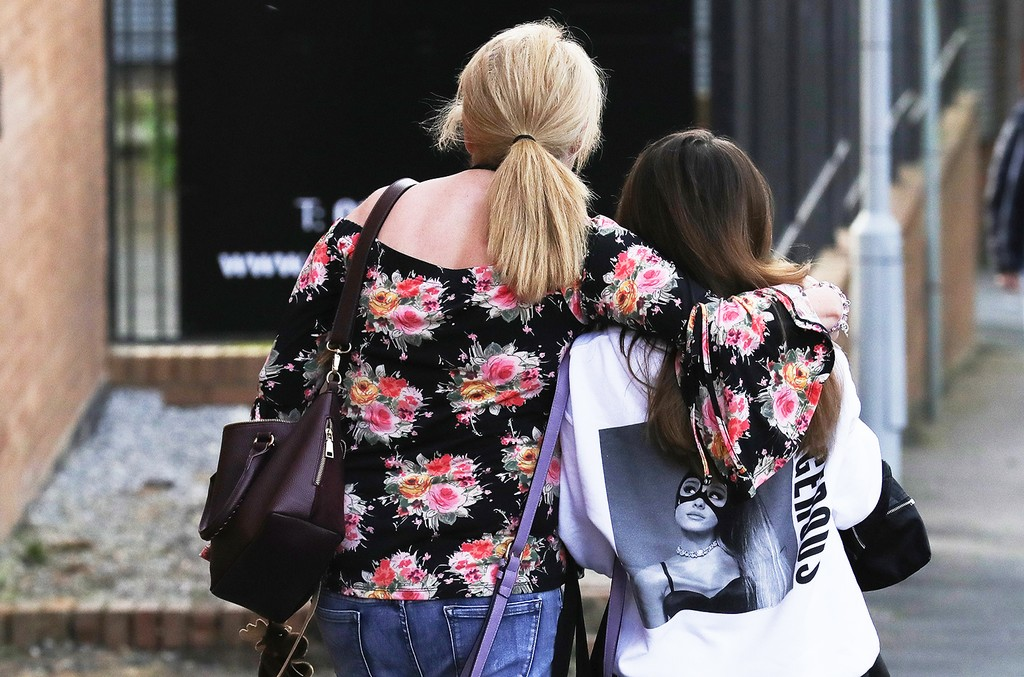 Ariana Grande concert attendees in manchester