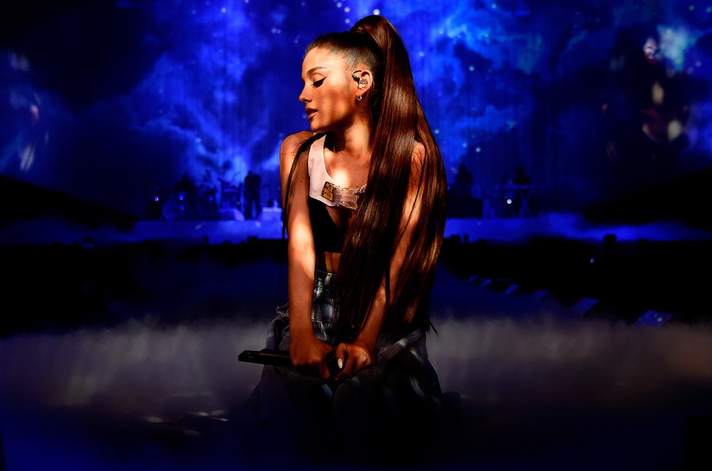"""Ariana Grande performs on stage during the """"Dangerous Woman"""" Tour Opener at Talking Stick Resort Arena on Feb. 3, 2017 in Phoenix."""