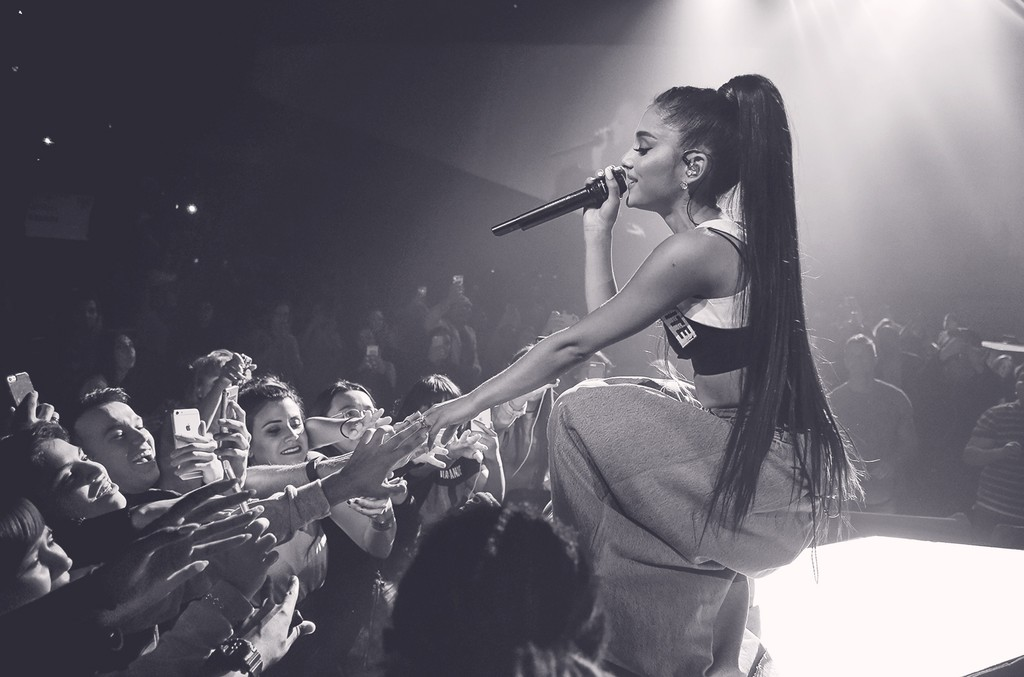 Ariana Grande performs during the Dangerous Woman tour on Feb. 3, 2017 in Phoenix.