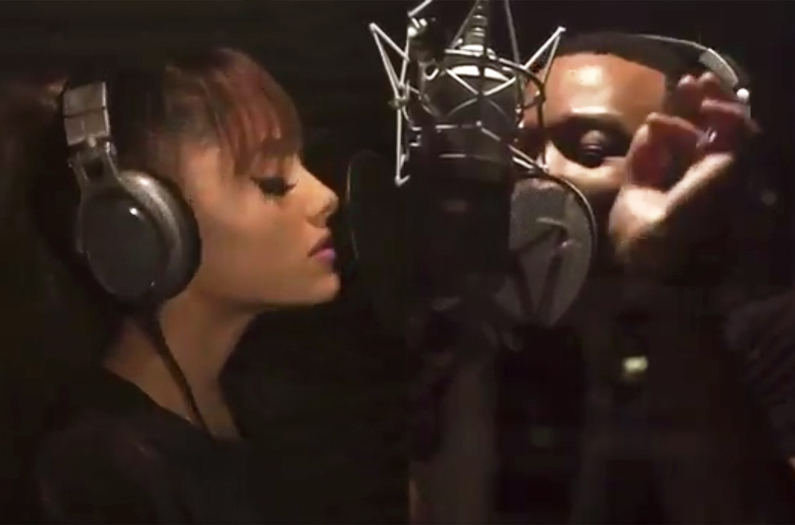 """Ariana Grande and John Legend recording """"Beauty and the Beast."""""""