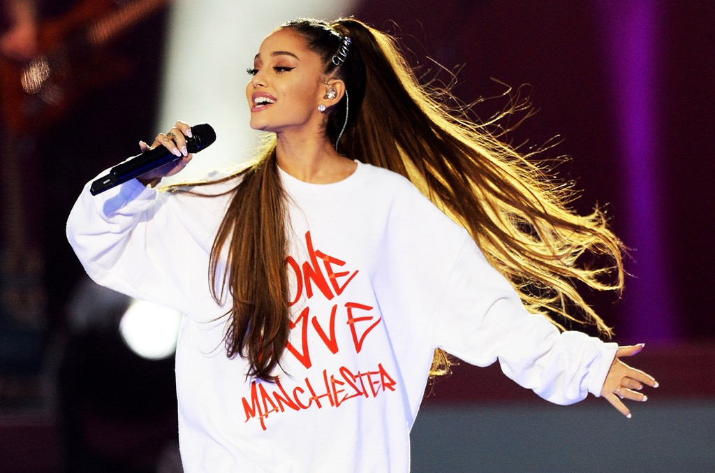 Ariana Grande performs on stage on at the 'One Love Manchester' benefit concert on June 4, 2017 in Manchester, England.