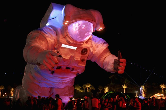 Escape Velocity art installation by Poetic Kinetics is seen during day 1 of 2014 Coachella