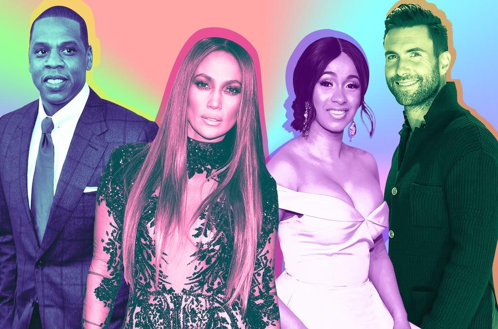 Jay Z, Jennifer Lopez, Cardi B & Adam Levine