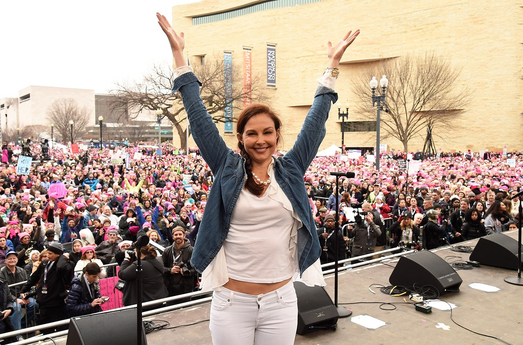 Ashley Judd appears onstage during the rally at the Women's March on Washington on January 21, 2017 in Washington, DC.  (Photo by Kevin Mazur/WireImage)