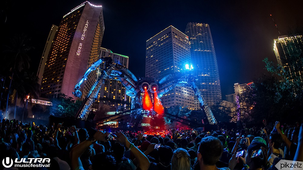 Atmosphere at Ultra Music Festival 2016 in Miami, Florida.