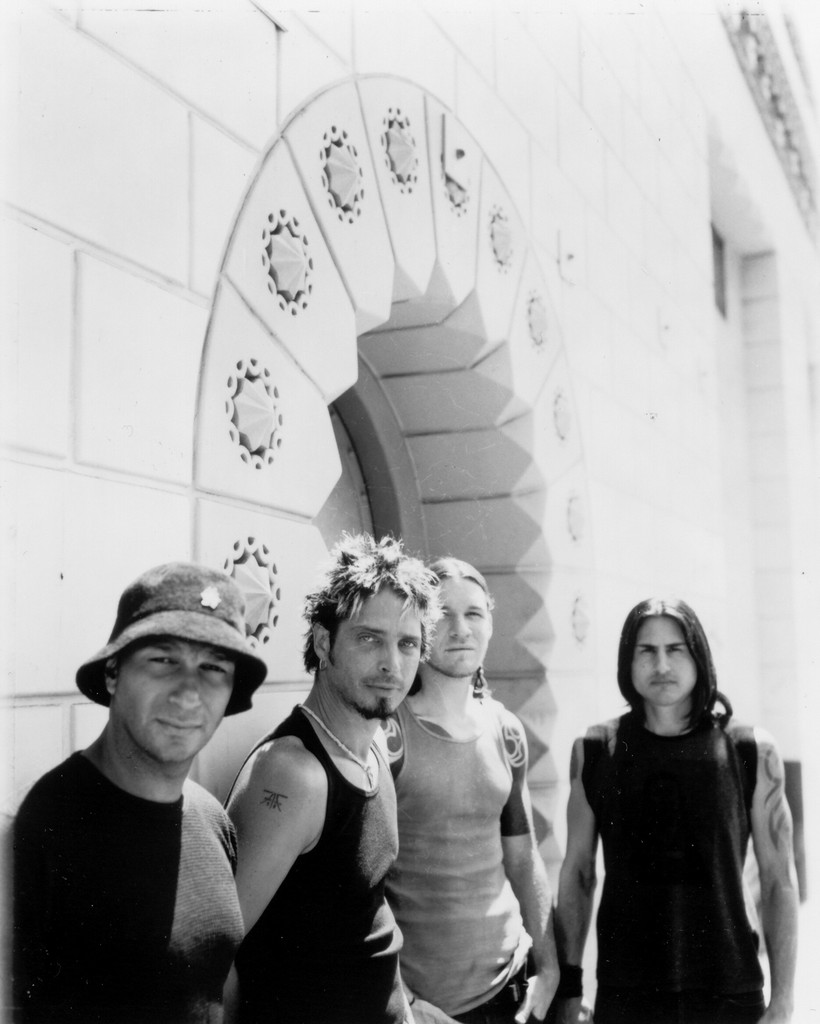 Audioslave photographed in 2002. Shown (from left): Tom Morello, Chris Cornell, Tim Commerford, Brad Wilk