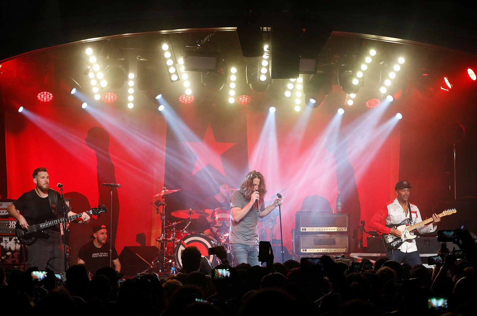 Tim Commerford, Brad Wilk, Chris Cornell and Tom Morello of Audioslave perform during the Prophets Of Rage And Friends' Anti-Inaugural Ball at Teragram Ballroom on January 20, 2017 in Los Angeles, California.  (Photo by Taylor Hill/FilmMagic)