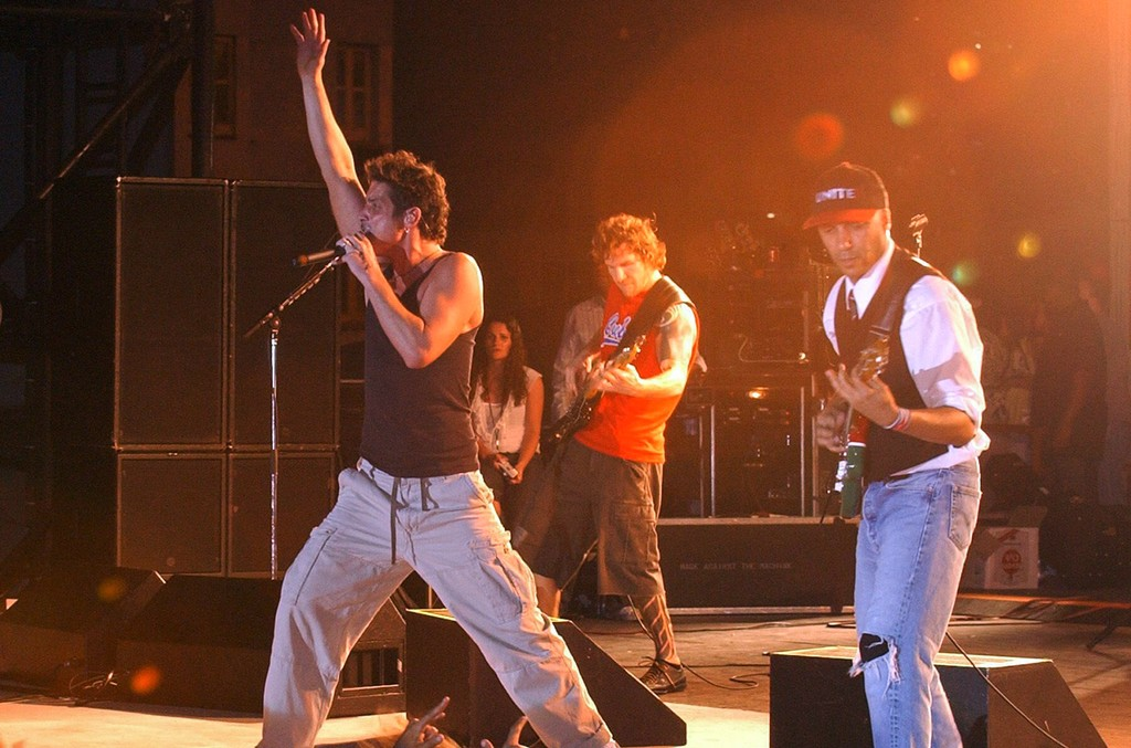 Audioslave perform at the Jose Marti Anti Imperialist Platform in Havana, Cuba on May 6, 2005.