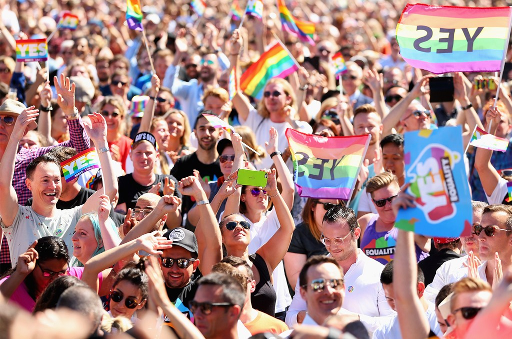 People celebrate the result announcement on November 15, 2017 in Sydney, Australia. Australians have voted for marriage laws to be changed to allow same-sex marriage, with the Yes vote claiming 61.6% to to 38.4% for No vote.