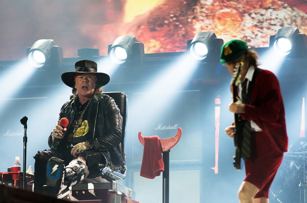 Axl Rose and Angus Young of AC/DC perform the first concert of the Rock or Bust tour on May 7, 2016 in Lisbon, Portugal.
