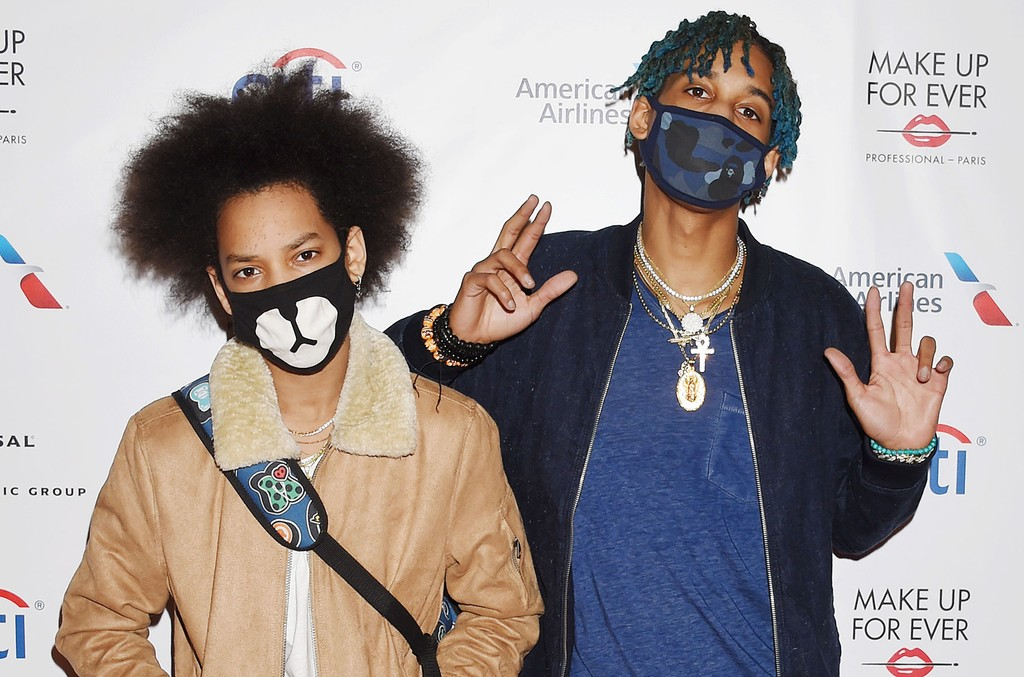 Ayo (R) and Teo arrive at the Universal Music Group's 2017 Grammy After Party at The Theatre at Ace Hotel on Feb. 12, 2017 in Los Angeles.