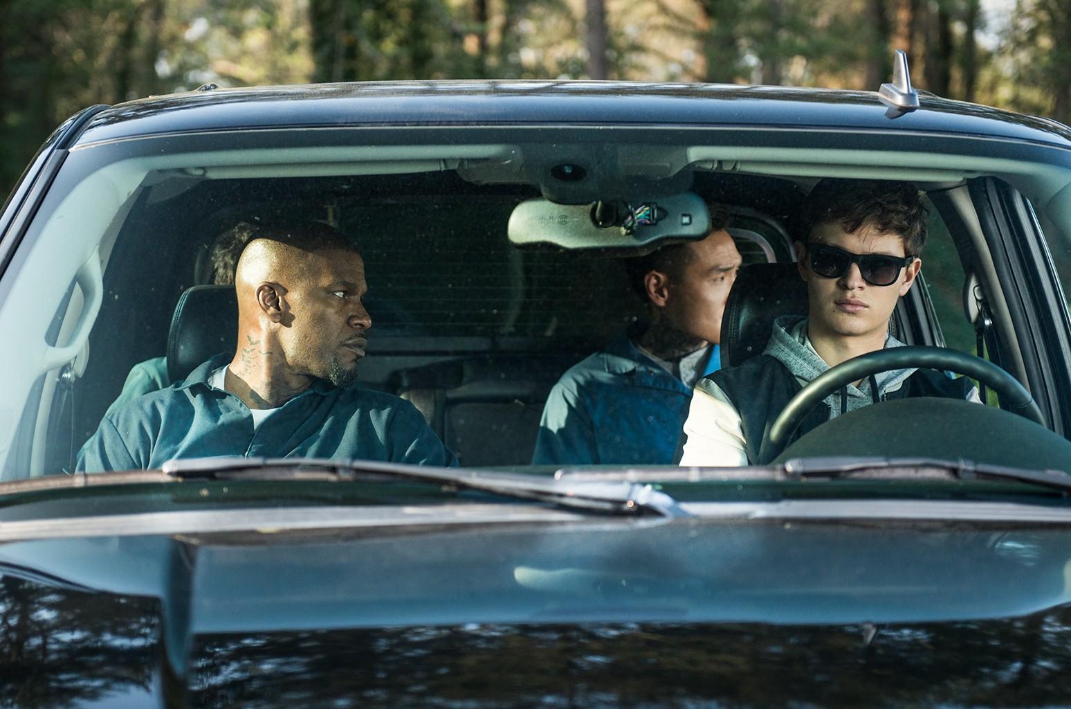 Ansel Elgort, Jamie Foxx, Flea Balzary and Lanny Joon in Baby Driver.