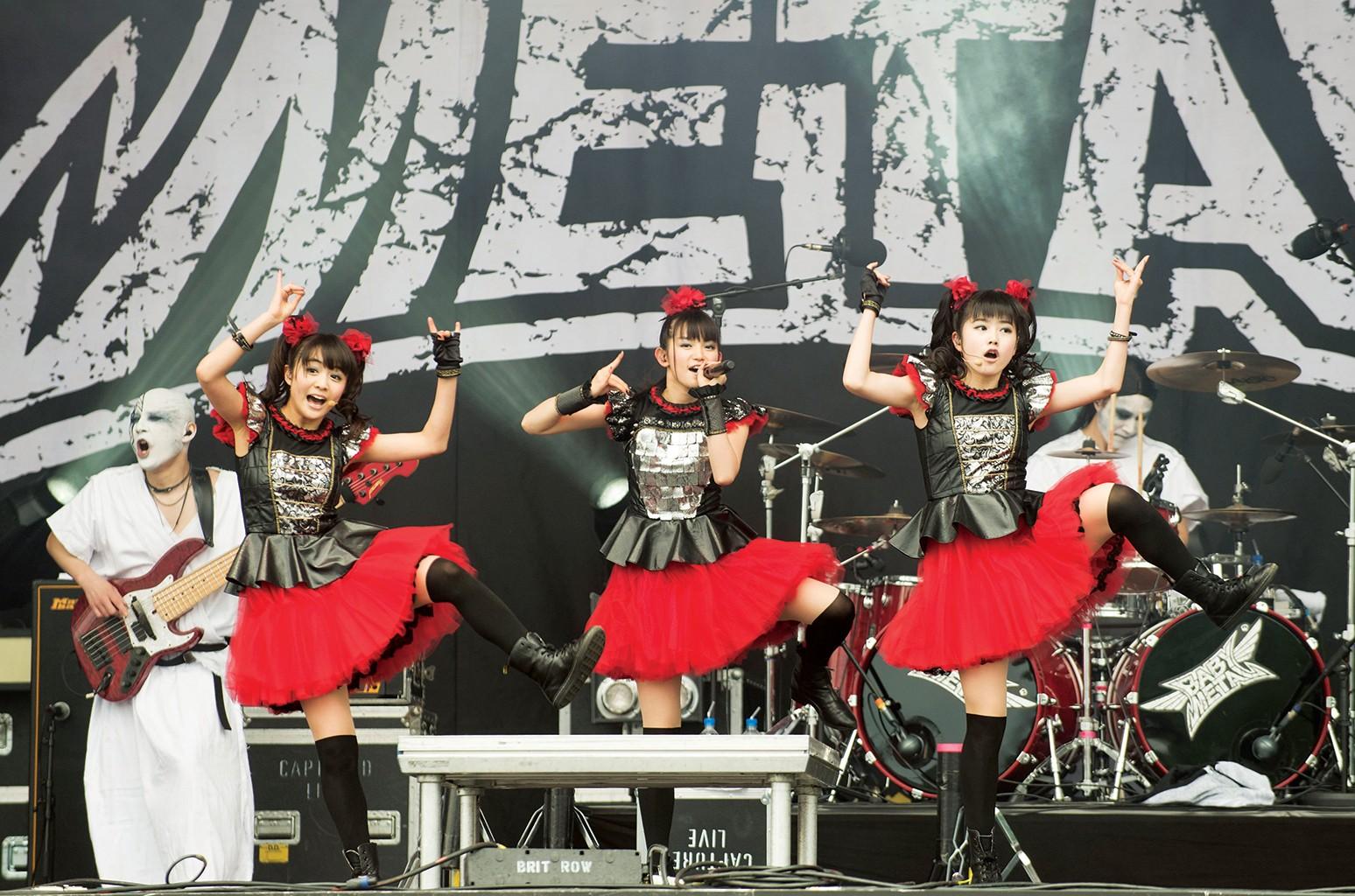 Babymetal onstage in Gelsenkirchen, Germany, in 2015.