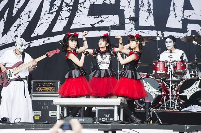 Babymetal performs on stage at the Veltins-Arena