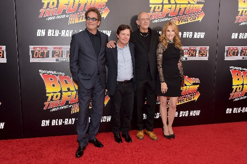 """Huey Lewis, Michael J. Fox, Christopher Lloyd and Lea Thompson attend the """"Back To The Future"""" New York special anniversary screening"""