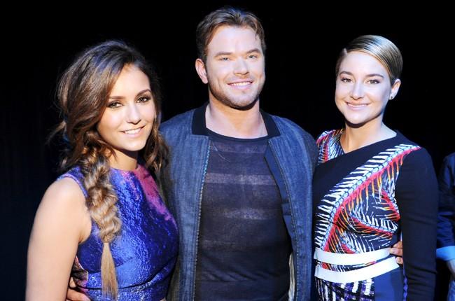 Nina Dobrev, Kellan Lutz and Shailene Woodley backstage at FOX's 2014 Teen Choice Awards