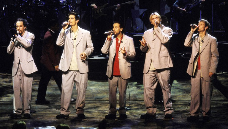 <p>The Backstreet Boys perform on&nbsp&#x3B;May 11, 1999.</p>