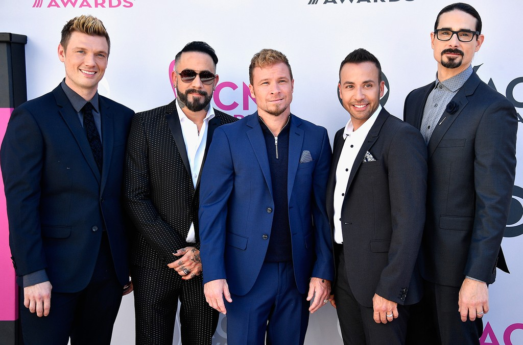 (L-R) Nick Carter, AJ McLean, Brian Littrell, Howie D, and Kevin Richardson of Backstreet Boys attend the 52nd Academy Of Country Music Awards at Toshiba Plaza on April 2, 2017 in Las Vegas.
