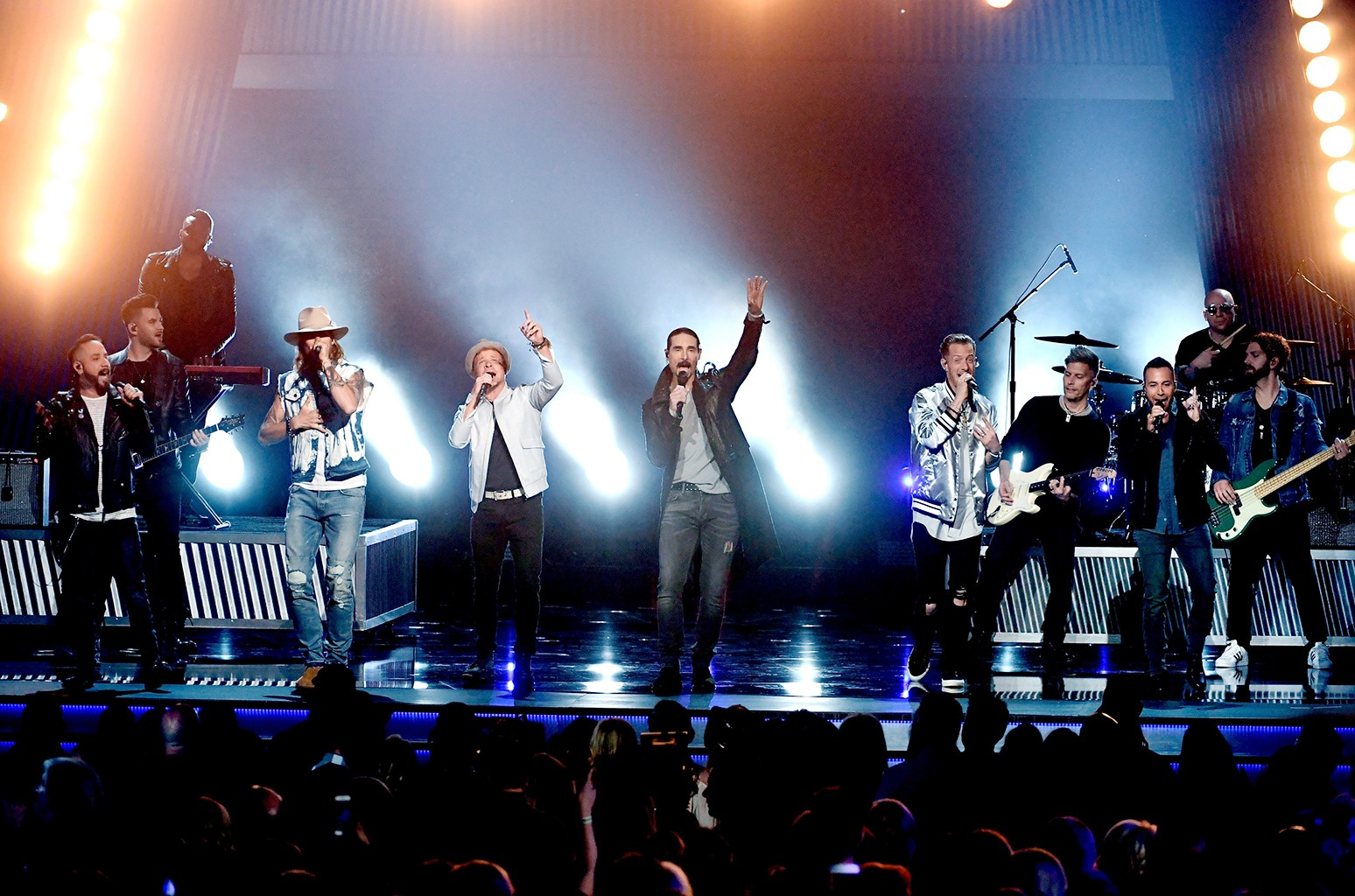 Brian Kelley and Tyler Hubbard of Florida Georgia Line perform with AJ McLean, Brian Littrell, and Howie D. of  Backstreet Boys onstage during the 52nd Academy Of Country Music Awards at T-Mobile Arena on April 2, 2017 in Las Vegas.