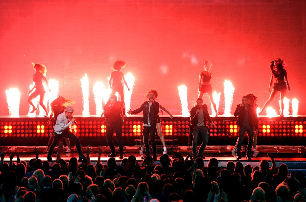 Backstreet Boys perform onstage during the 52nd Academy Of Country Music Awards at T-Mobile Arena on April 2, 2017 in Las Vegas.