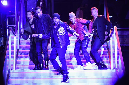 The Backstreet Boys perform onstage at the BALMAIN X H&M Collection Launch