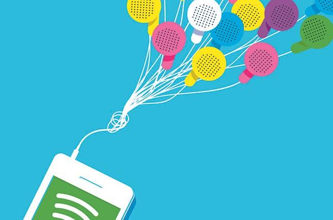 Spotify, balloons, illustration
