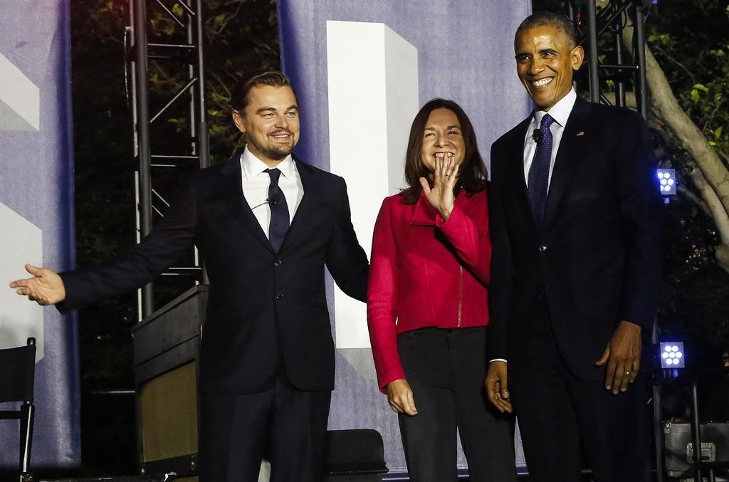 Barack Obama and Leonardoat South by South Lawn