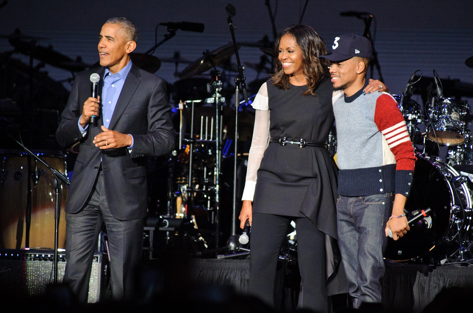 President Barack Obama, Michelle Obama & Chance The Rapper, 2017