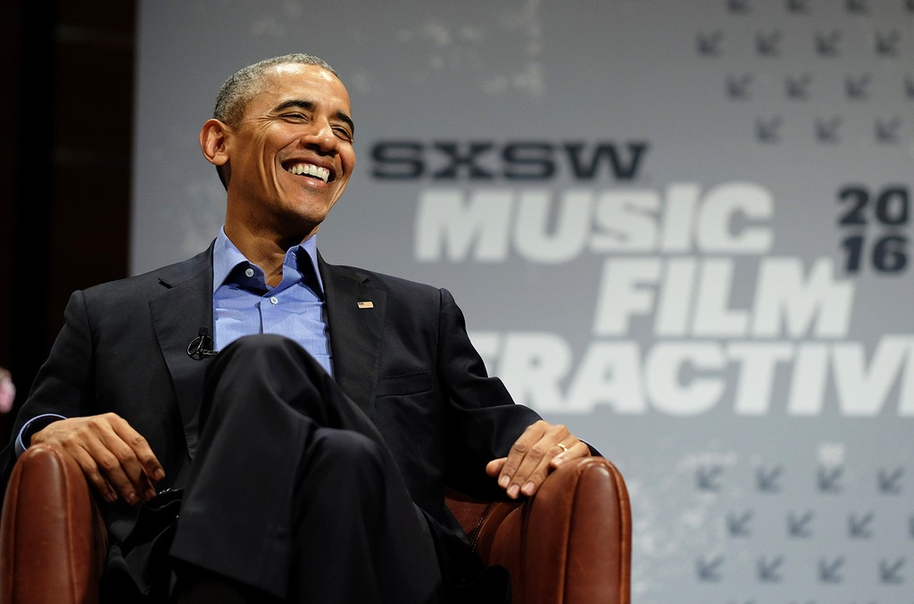 Former President Barack Obama speaks at the opening Keynote during the 2016 SXSW Music, Film + Interactive Festival at Long Center on March 11, 2016 in Austin, Texas.