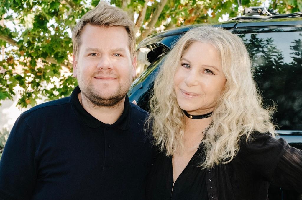 Barbra Streisand and James Corden