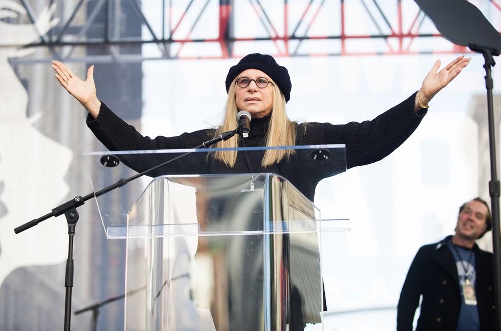Barbra Streisand speaks at the women's march in Los Angeles on Jan. 21, 2017 in Los Angeles.