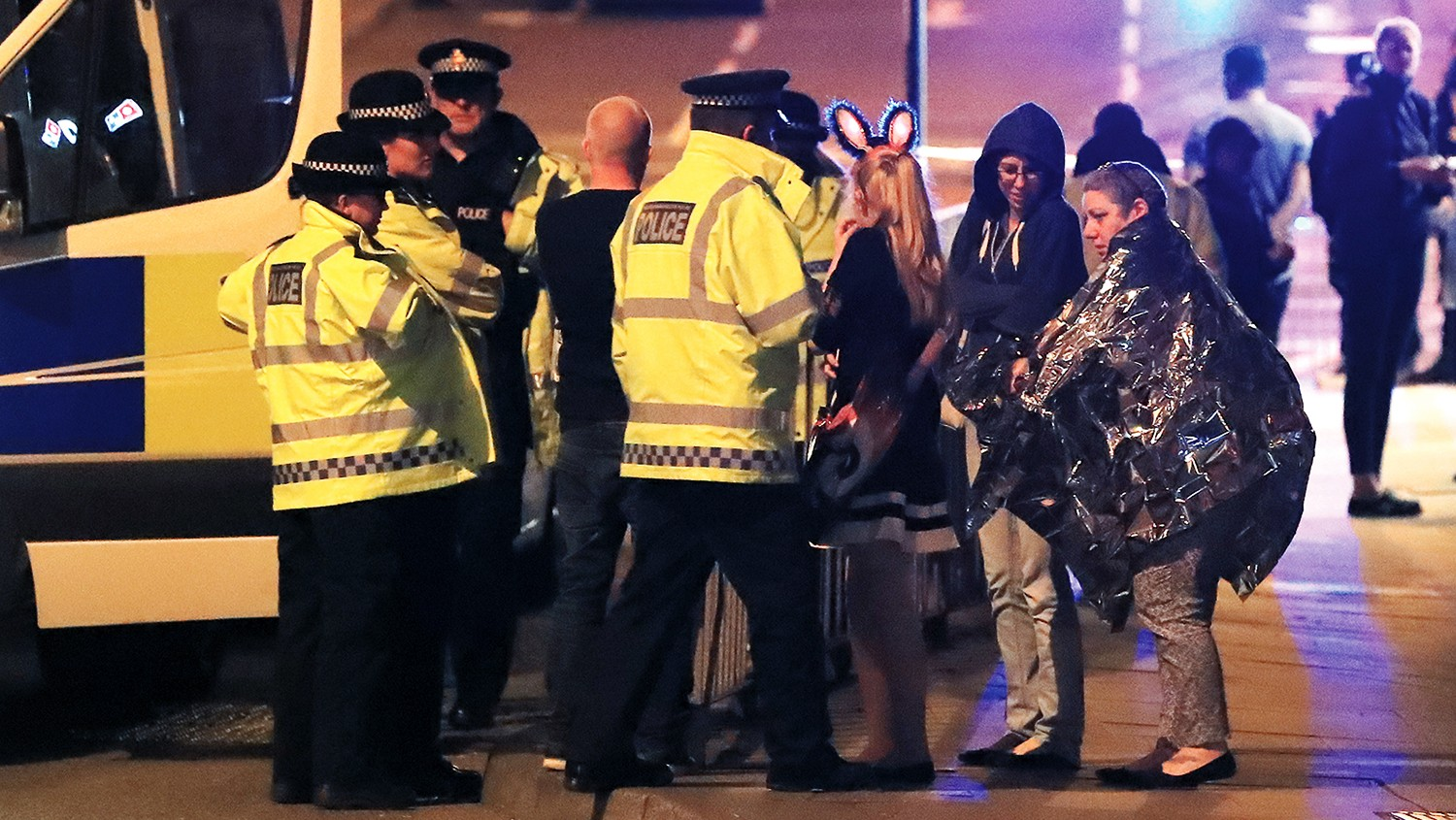 Emergency services at Manchester Arena after reports of an explosion at the venue during an Ariana Grande concert.