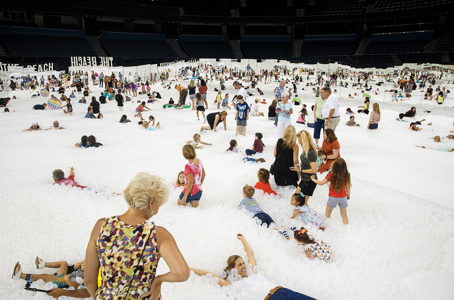 """The """"Beach"""" exhibit at Amalie Arena in Tampa, Fla."""