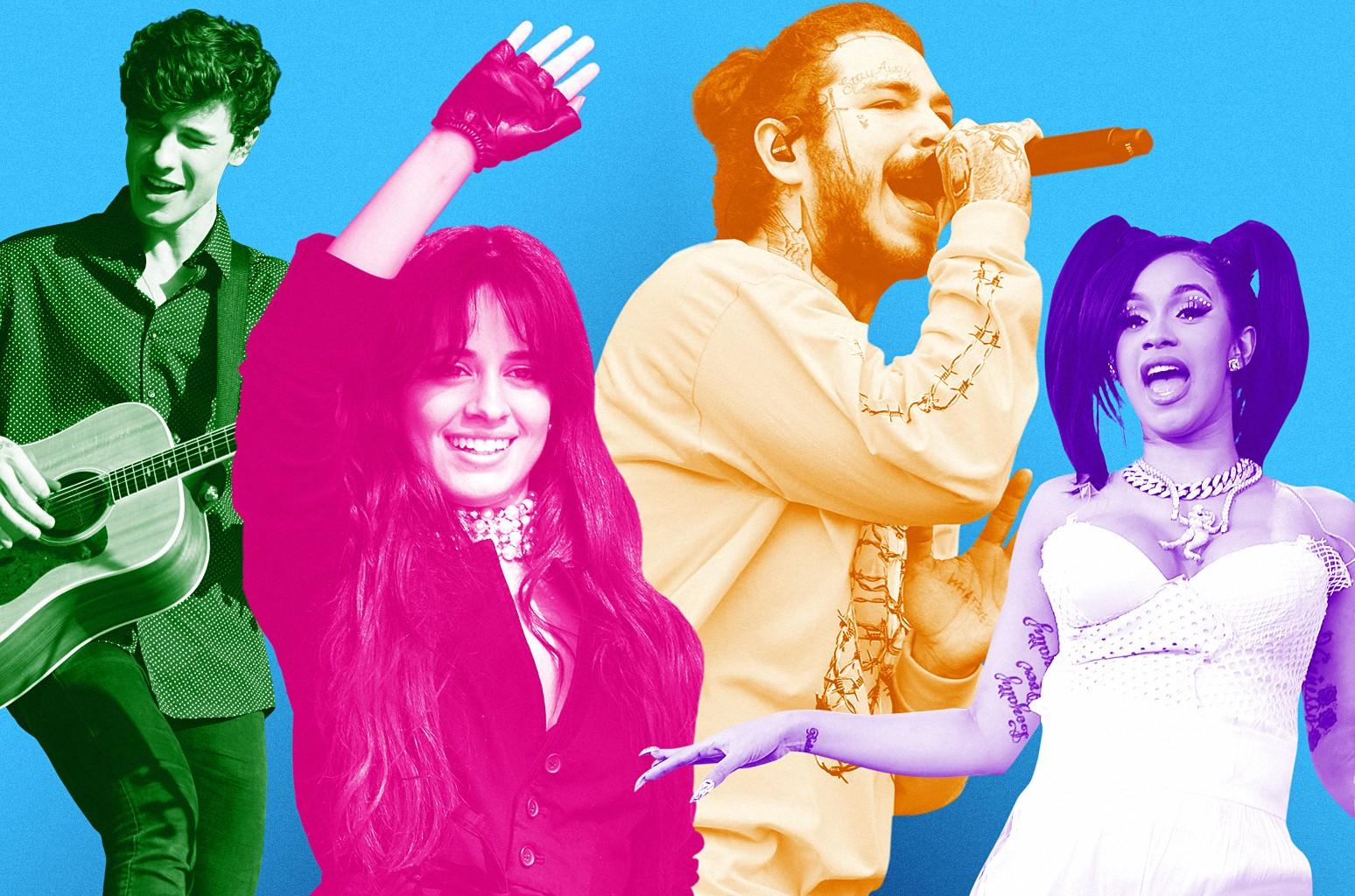 Shawn Mendes, Camila Cabello, Post Malone & Cardi B
