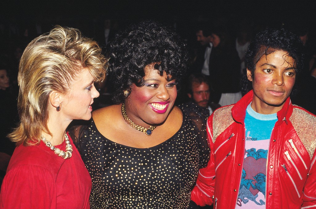 From left: Olivia Newton-John, Holliday and Michael Jackson on opening night of the Los Angeles production of Dreamgirls in March 1983.