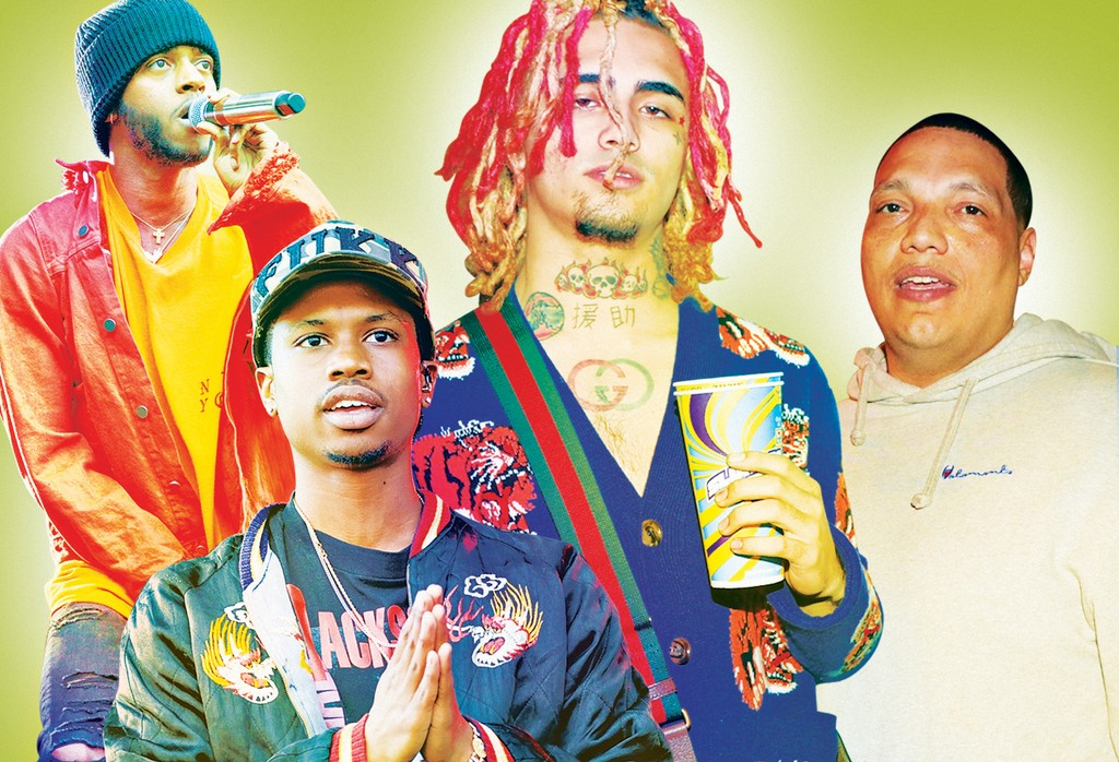 Clockwise from top left: 6LACK, LilPump, Wharton and Raury.