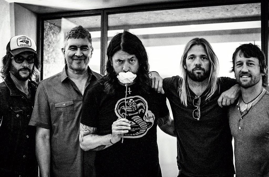 Foo Fighters' Rami Jaffee, Pat Smear, Grohl, Taylor Hawkins and Chris Shiflett (from left) during their Concrete and Gold album playback at Metropolis in June.