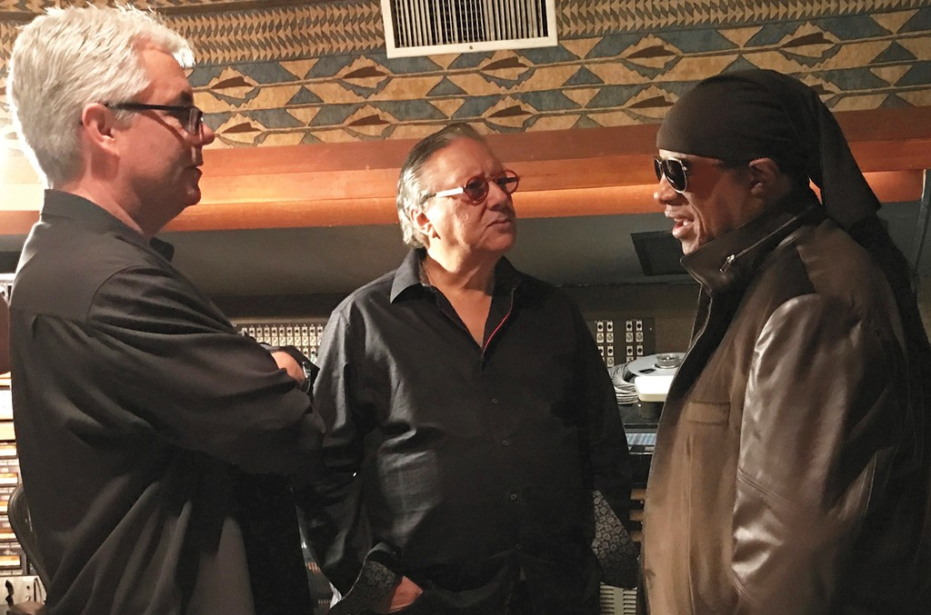 Producer Gregg Field, Trumpet virtuoso Arturo Sandoval and Wonder (from left) in United Recording Studios' Studio A control room in May.