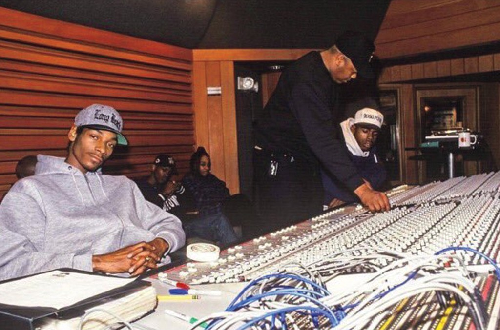 Snoop Dogg (left) and Dre in Studio A at The Village Studios in 1993.
