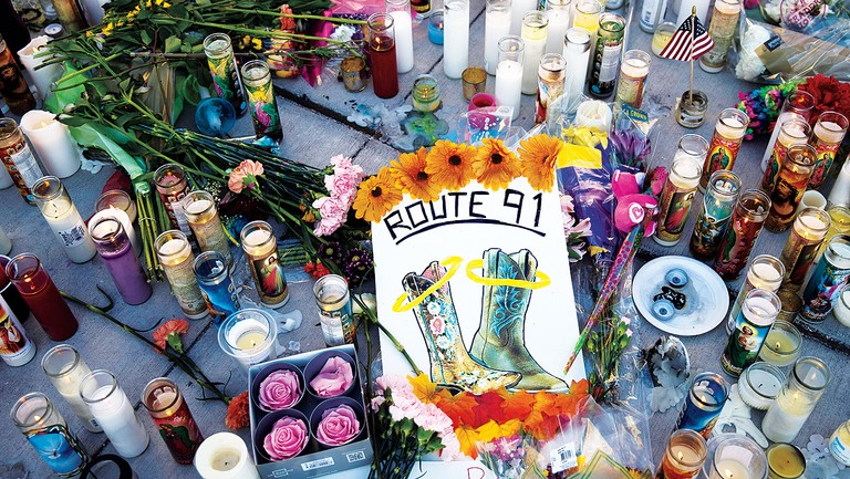 <p>A makeshift memorial at an intersection on the Las Vegas Strip for the shooting victims at the Route 91 festival.</p>