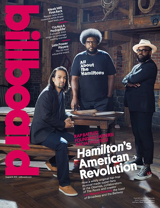 Lin-Manuel Miranda, Questlove and Black Thought photographed on July 20, 2015 at the Richard Rodgers Theater in New York City,