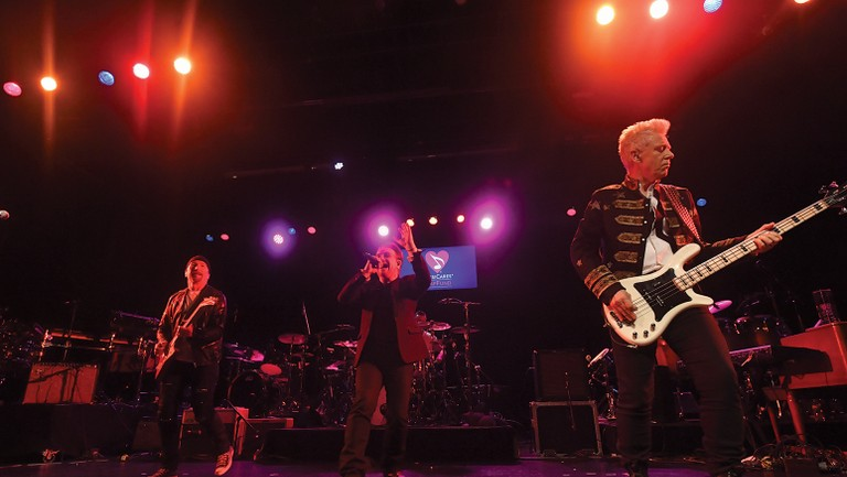 <p>From left: U2&rsquo&#x3B;s The Edge, Bono and Clayton onstage at the MusiCares benefit on June 26.&nbsp&#x3B;</p>
