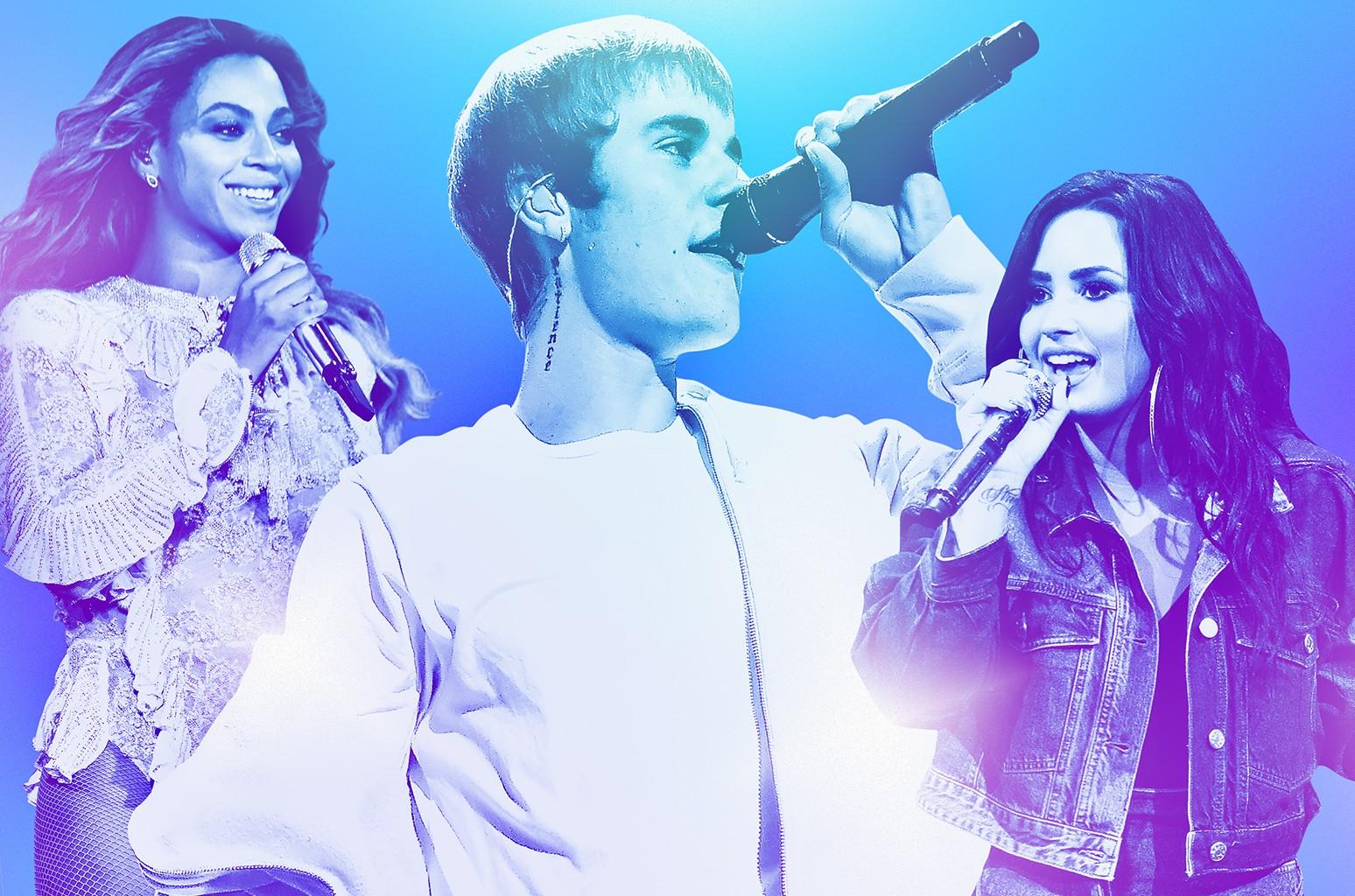 From left: Beyoncé, Justin Bieber & Demi Lovato