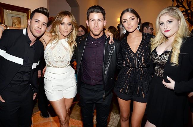 Prince Royce, Jennifer Lopez, and Nick Jonas, Olivia Culpo and Meghan Trainor  bbma nick jonas after party 2015