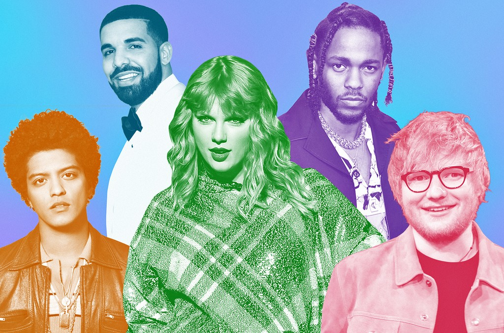 From left: Bruno Mars, Drake, Taylor Swift, Kendrick Lamar & Ed Sheeran