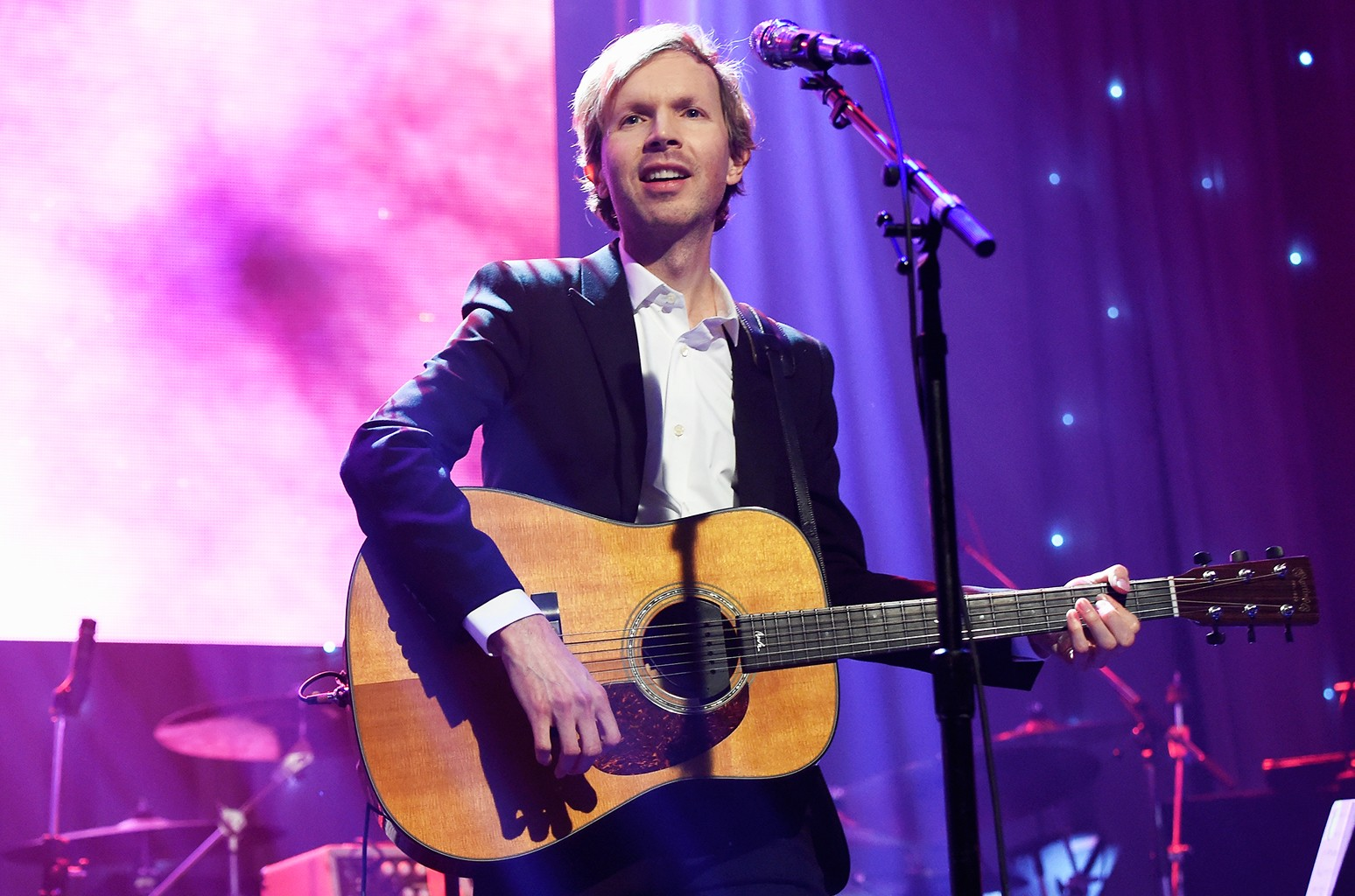 Beck performs onstage during the 2016 Pre-Grammy Gala