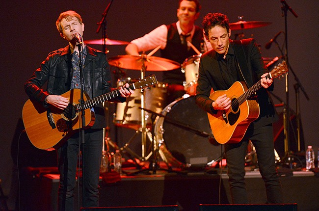 Beck and Jakob Dylan perform onstage at The Orpheum Theatr