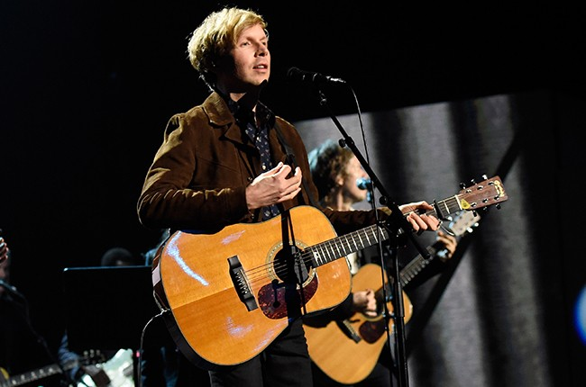 Beck performs onstage during the 30th Annual Rock And Roll Hall Of Fame Induction Ceremony
