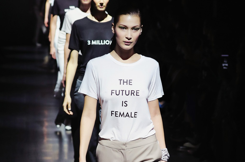 Bella Hadid walks the runway for the Prabal Gurung collection during, New York Fashion Week: The Shows at Gallery 1, Skylight Clarkson Sq on Feb. 12, 2017 in New York City.